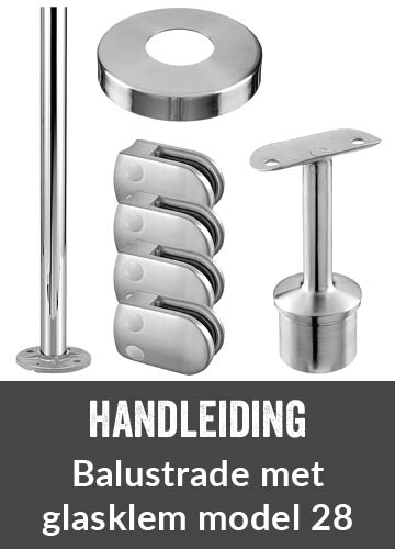 Balustrade met glasklem model 28 (D-model glasklem)