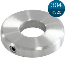 Schijf 40 x 5 mm met gat 12.2 mm, Met borging en facetrand, RVS