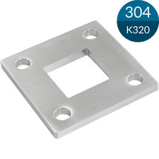 Ankerplaat Vierkant 92 x 92 x 6 mm, Voor koker 40 x 40 mm, RVS