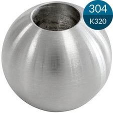 Kogel 20 mm met potgat 10 mm, Massief, RVS