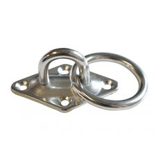 Mastplaat met ring, diameter 6 mm, RVS 304