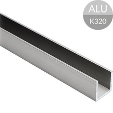 U-profiel 20 x 20 x 20 mm, RVS Look Aluminium, 2500 mm