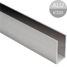 U-profiel 40 x 20 x 40 mm, RVS Look Aluminium, 2500 mm