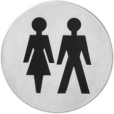 Pictogram dames-/herentoilet 76 mm, Zelfklevend, RVS