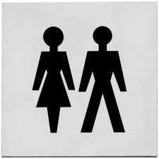 Pictogram dames-/herentoilet 76 x 76 mm, Zelfklevend, RVS