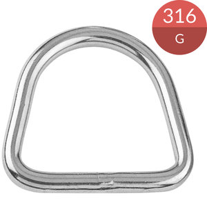 D-ring 4 x 20 mm, RVS316
